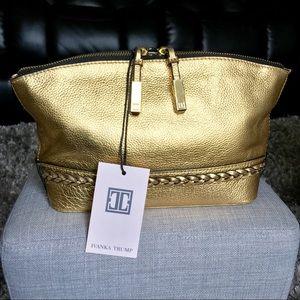 Ivanka Trump Metallic Gold Leather Clutch
